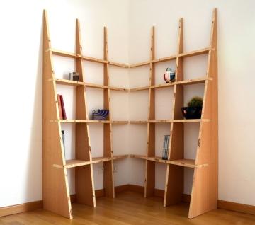 Libreria LIBRE, composizione con due moduli ad angolo